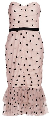 Marchesa Notte Strapless Polka Dot Dress