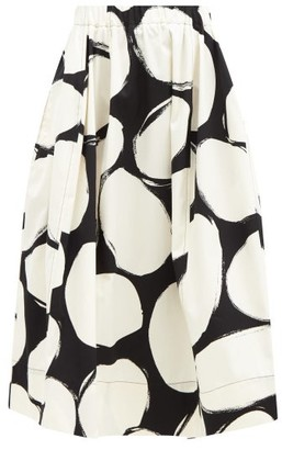 Marni Oval-print A-line Crepe Skirt - Black White