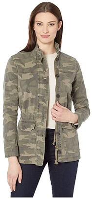 Lucky Brand Long Sleeve Button-Up Two-Pocket Camo Utility Jacket (Green Multi) Women's Clothing