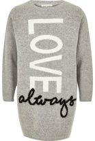 River Island Girls grey Love print sweater dress