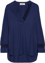 By Malene Birger Gulana Stretch-crepe Blouse - Navy