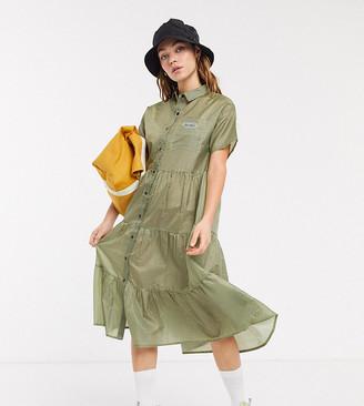Collusion nylon gingham smock dress