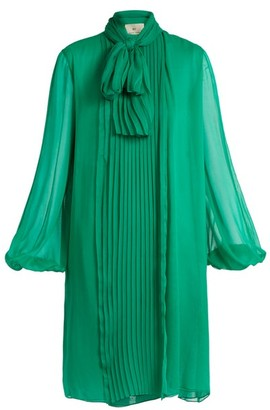 By. Bonnie Young - Neck-tie Silk-chiffon Dress - Green