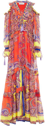 Etro Cold-shoulder Tasseled Printed Silk-crepon Maxi Dress