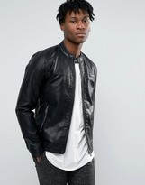 ONLY & SONS Faux Leather Straight Zip Biker Jacket