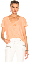 Unravel Distressed Jersey Basic Tee in Orange.