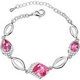 Miki&Co Silver Swarovski Elements Women's Crystal Diamond Bracelet Bracelets , with a Gift Box