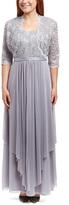 R & M Richards Silver Lace Gown & Bolero