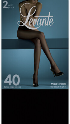 Levante Opaque Pantyhose 2 Pack 40D SOFO402PTI in Brown or Black