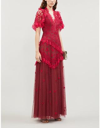 Selfridges Elsa V-neck floral-embroidered mesh gown
