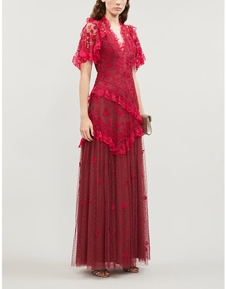 NEEDLE AND THREAD Elsa V-neck floral-embroidered mesh gown