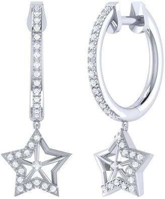 Lucky Star Hoop Earrings In Sterling Silver