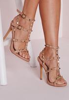 Missguided Studded Heeled Gladiator Sandals Blush