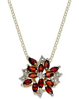 Townsend Victoria 18k Gold over Sterling Silver Necklace, Garnet (2-3/8 ct. t.w.) and Diamond Accent Cluster Pendant