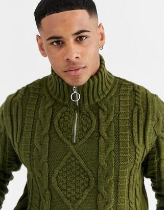 Asos Design DESIGN heavyweight cable knit half zip jumper in khaki-Green