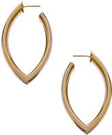 Gold Angular-Oval Hoop Earrings