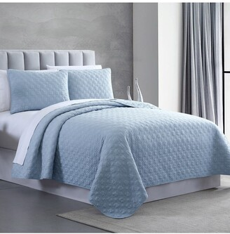 Modern Threads Queen Enzyme Washed Diamond Link Quilted Coverlet 3-Piece Set - Blue