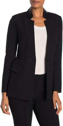 St. John Bella Leather Collar Blazer