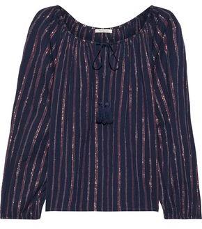 Mes Demoiselles Elize Striped Crinkled Cotton-blend Blouse