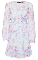 Dorothy Perkins Womens Multi Colour Floral Print Chiffon Wrap Fit And Flare Dress
