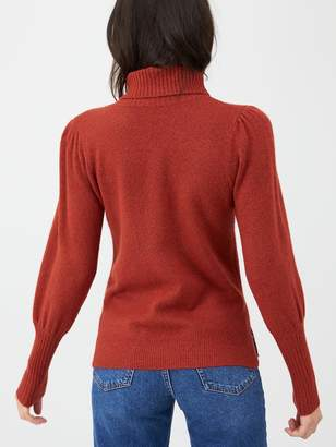 Very Puff Sleeve Roll Neck Jumper - Red