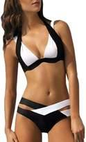 2Pcs Bikini Set Susenstone Women Straps and White Push-Up String Swimwear (XXL, )