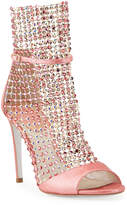 Rene Caovilla Galaxia Mesh Crystal Snake Caged Sandals