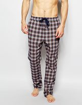 Esprit Flannel Check Lounge Pants In Straight Fit - Blue