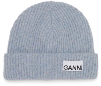 Ganni Logo-patch Ribbed Wool-blend Beanie - Light Blue