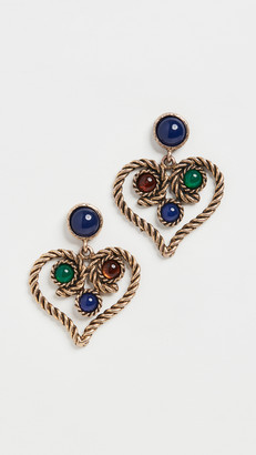 Kenneth Jay Lane Antique Gold with Lapis Top Earrings