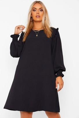 boohoo Plus Frill Detail long Sleeve Smock Dress