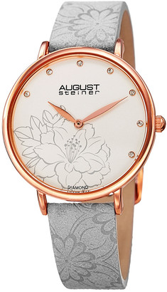 August Steiner Women's Leather Diamond Watch