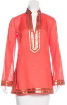 Tory Burch Sequin-Accented Long Sleeve Tunic
