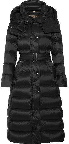 Burberry Hooded Quilted Shell Coat - Black