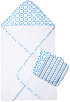 Trend Lab White & Blue Logan Hooded Towel & Washcloth Set