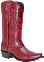 Red Embroidered Leather Cowboy Boot - Women