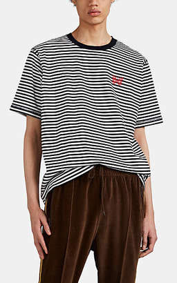 Needles Men's Striped Cotton T-Shirt - White