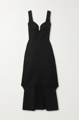 Alexander McQueen Asymmetric Wool Dress - Black