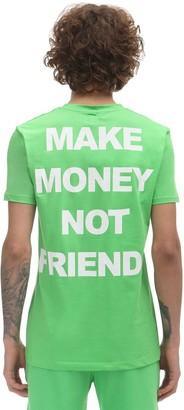 Make Money Not Friends Fluo Logo Print Cotton Jersey T-shirt