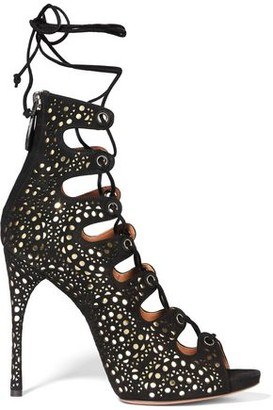 Alaia Laser-cut Suede And Metallic Leather Sandals