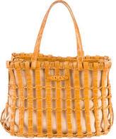 Nancy Gonzalez Crocodile Woven Handle Bag