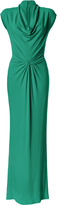 Michael Kors Emerald Twisted Front Cowl Neck Gown