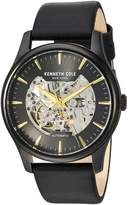 Kenneth Cole New York Men's 'Auto' Automatic Stainless Steel and Leather Dress Watch, Color: (Model: KC15110002)