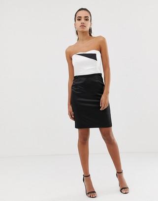 Morgan bandeau pencil dress in monochrome-Multi