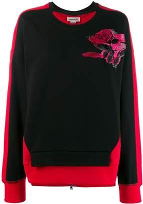 Alexander McQueen rose embroidered sweatshirt