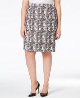 Kasper Plus Size Jacquard Pencil Skirt