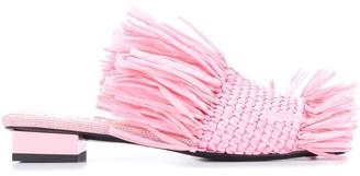 MSGM Fringed Woven Upper Sandals