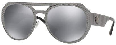 Versace Embossed Metal Mirrored Aviator Sunglasses, Black