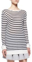 Alexander Wang Long-Sleeve Striped Tee, Ink/Ivory