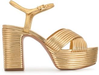 Schutz Metallic-Effect Crossover-Strap Sandals